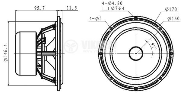 Нискочестотен говорител, HiVi, L6-4R, 4 Ohm, 30W, ф170x95.7 mm - 5