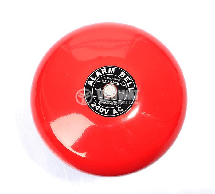"""Fire bell, 240 VAC, 8"""" (200 mm), 85 dB, червен - 1"""