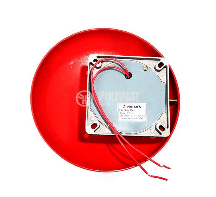 """Fire bell, 240 VAC, 8"""" (200 mm), 85 dB, червен - 2"""