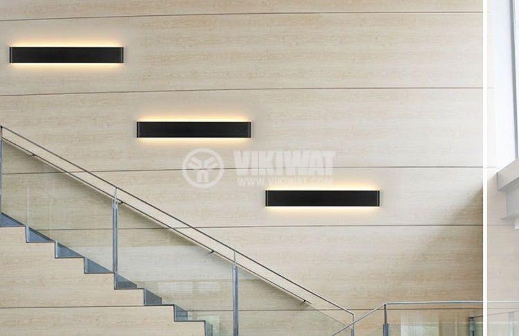 LED аплик AVVA-WL04, 12W, 220VAC, 600lm, 3000K, топло бял, IP20, невлагозащитен, BH07-03301, черен - 2