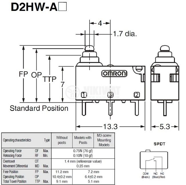 Sealed Ultra Subminiature Basic Switch D2HW-A201D, ON-(ON), 0.1 A/125 VAC, 2 A/12 VDC, IP67 - 2