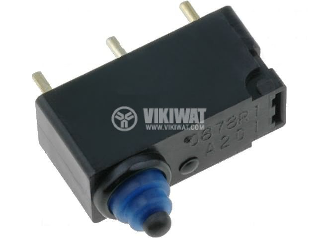 Sealed Ultra Subminiature Basic Switch D2HW-A201D, ON-(ON), 0.1 A/125 VAC, 2 A/12 VDC, IP67 - 1