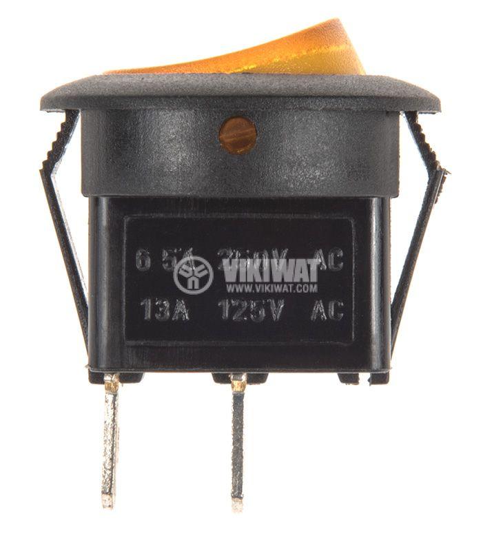 Rocker превключвател, 2 позиции, OFF-ON, 6.5A/250VAC, отвор ф20mm - 2