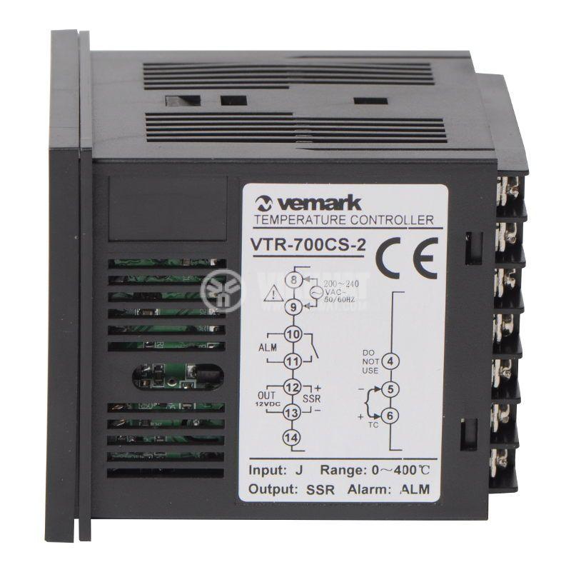 Temperature controller VTR-700CS, 220VAC, 0-400°C, TC type J, SSR output - 2