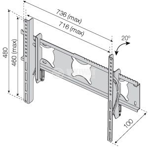 "TV Wall Mount Stand 701M2, 65"", tilt, with Anti Theft Device - 2"