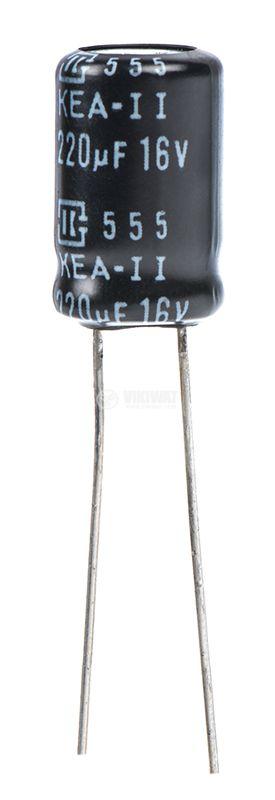 Кондензатор електролитен 220uF, 16V, THT, Ф10x16mm - 1