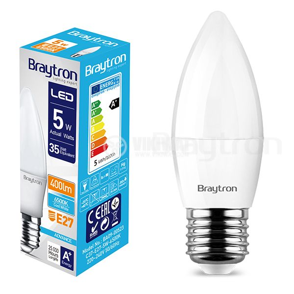 LED bulb 5W, E27, C37, 220VAC, 410lm, 6500K, cool white, candle type,  BA09-00523 - 7