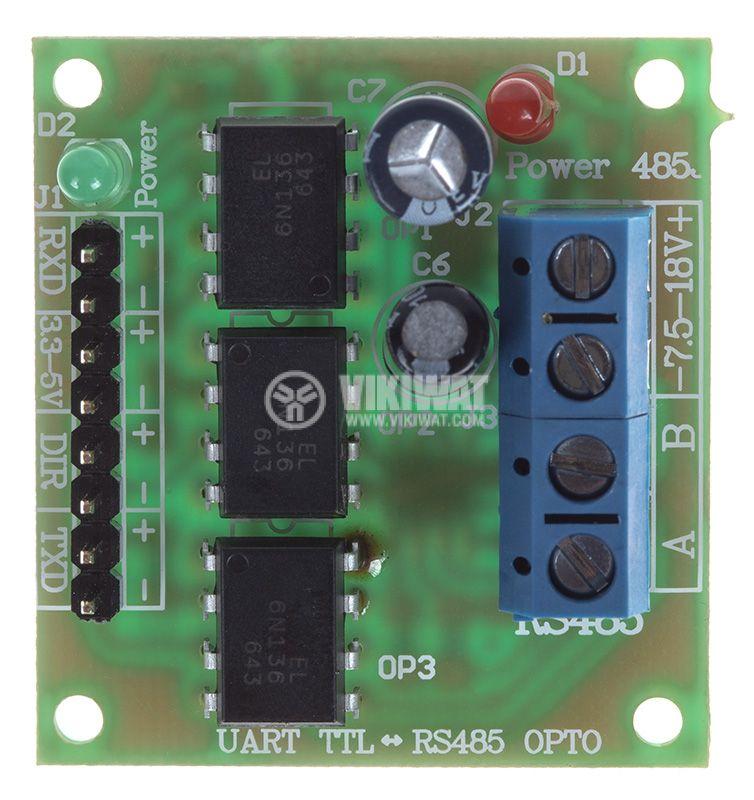 Конвертор UART TTL RS485 OPTO, 7.5~15V - 2