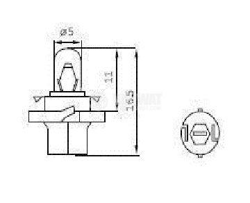 Auto filament lamp, BX8.4d, 12V, 1.3W - 2