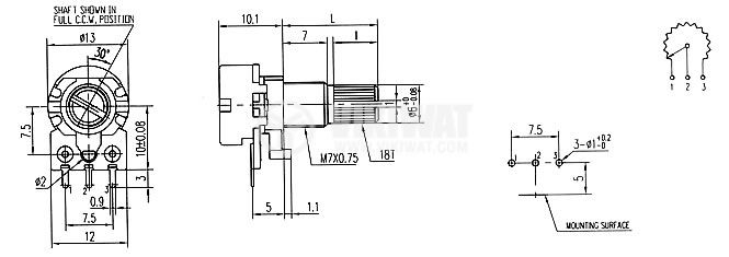Потенциометър линеен моно въглероден 10kOhm 0.5W WH120-2-18T - 2