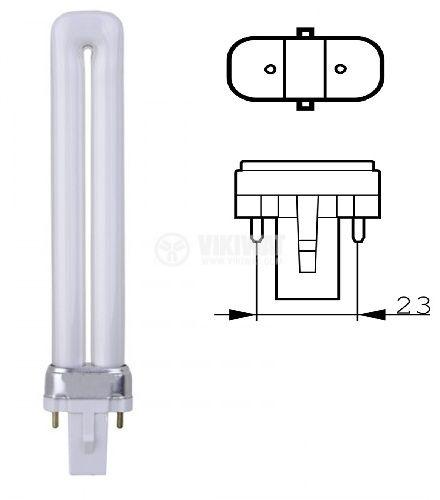 PL Compact Fluorescent Lamp, 9 W, 2P