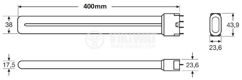 Енергоспестяваща лампа PL, 36 W, 220 VAC, 4P, студено бяла  - 2