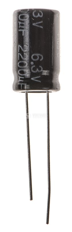 Кондензатор електролитен 2200uF, 6.3V, THT, ф10x15mm, Low ESR, нисък импеданс - 1