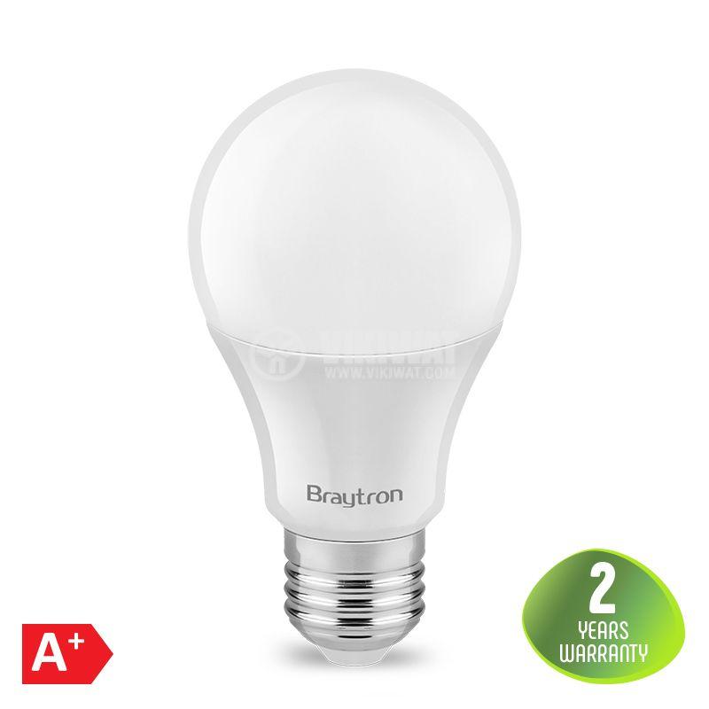 LED лампа 8W, E27, A60, 220VAC, 650lm, 4200K, неутрално бяла, BA13-00821 - 1