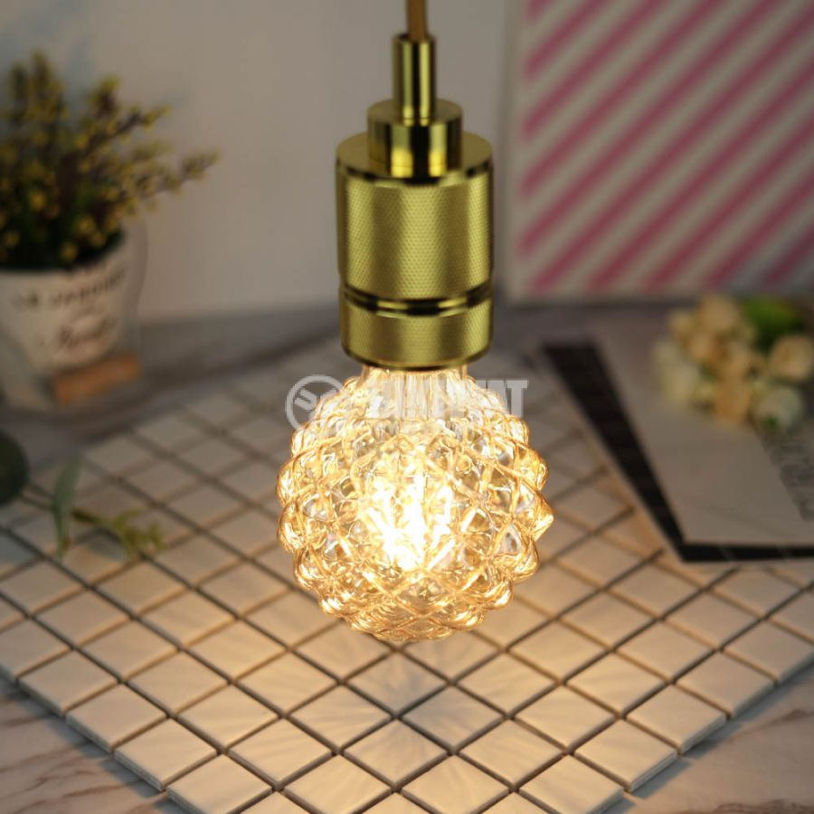 LED FILAMENT bulb FL95, 4W, E27, 220VAC, 350lm, 2200K, extra warm white, amber, crystal pineapple, BB56-00420 - 5