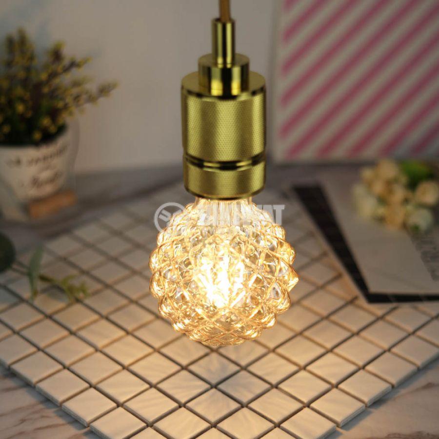 LED лампа FILAMENT FL95, 4W, E27, 220VAC, 350lm, 2200K, топлобяла, amber, кристал/ананас, BB56-00420 - 5