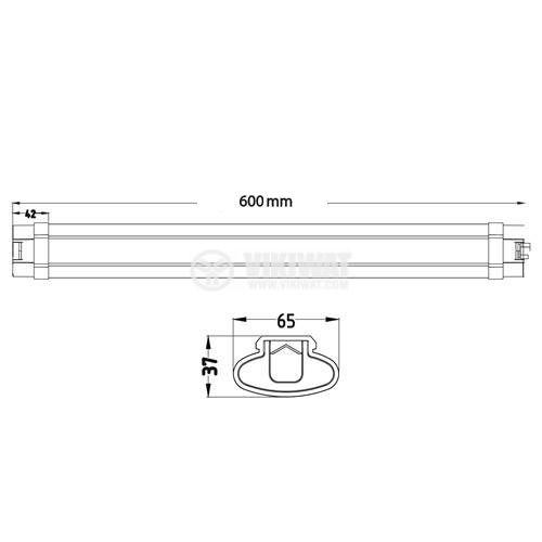 Waterproof LED wall lamp PROLINE-IP 18W, 220VAC, 1500lm, 6500K, cool white, IP65, 600mm, BT02-00630 - 9