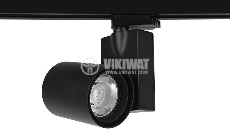 LED релсов прожектор COB SHOPLINE-A, 30W, 220VAC, 2350lm, 3000K, топло бял, BD30-00301, черен корпус - 1