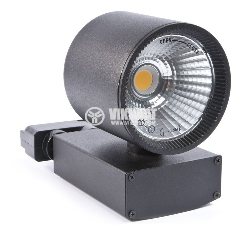 LED релсов прожектор COB SHOPLINE-A, 30W, 220VAC, 2350lm, 3000K, топло бял, BD30-00301, черен корпус - 6