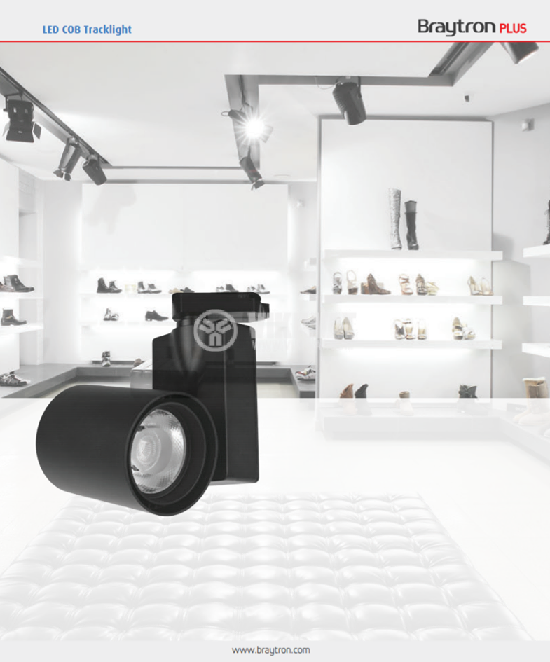 LED релсов прожектор COB SHOPLINE-A, 30W, 220VAC, 2350lm, 3000K, топлобял, BD30-00301, черен корпус - 4