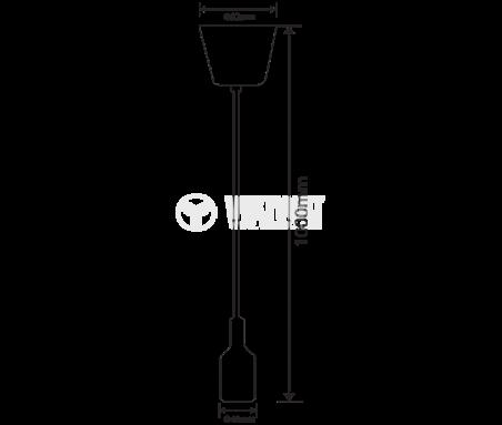 Пендел с цокъл E27,  BY45-00101, черен, 1m дължина - 5