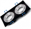 Арматура за вграждане, SPOTTI-S, за халогенни и LED луни, черна/сребърна, GU5.3/GU10, двойна, BH03-00121 - 1