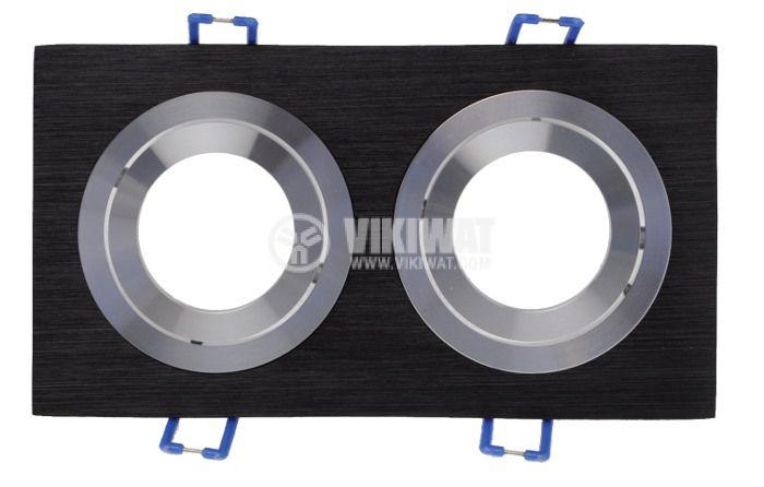 Арматура за вграждане BN12-0126 за халогенни и LED луни, черна, сребърна, GU5.3, двойна - 2