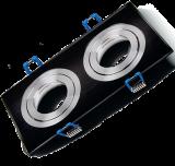 Spotlight fixture SPOTTI-S, black silver, GU5.3/GU10, double, BH03-00121