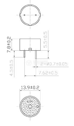 Пиезо зумер, KPI-G1410LP, 85dB, 4.3kHz, Ф13.9x7.8mm, с генератор - 2
