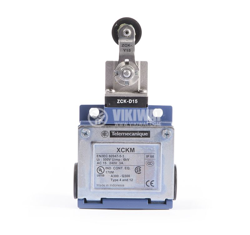 Limit Switch XCKM, 2NO+2NC, 15A/250VAC, roller with lever - 1