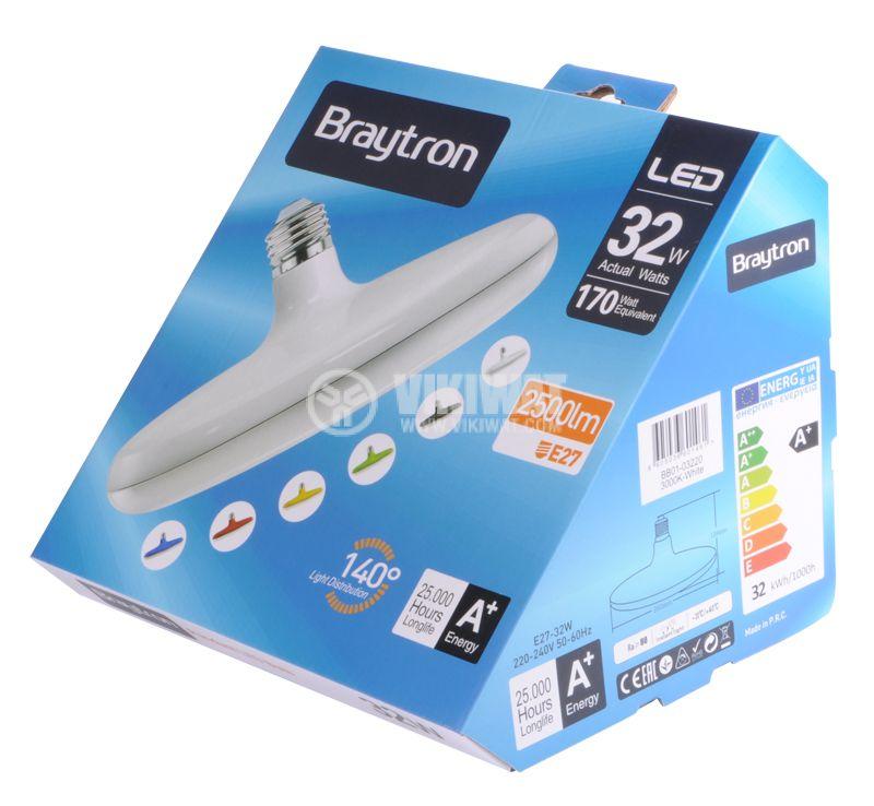 LED лампа BB01-03220, E27, 32W, 2500LM, 3000K, топло бяла - 4