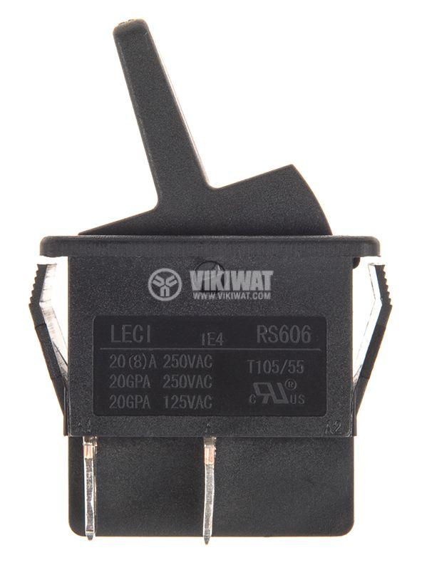 Rocker превключвател, 2 позиции, OFF-ON, 20A/250VAC, отвор 28x22mm - 2