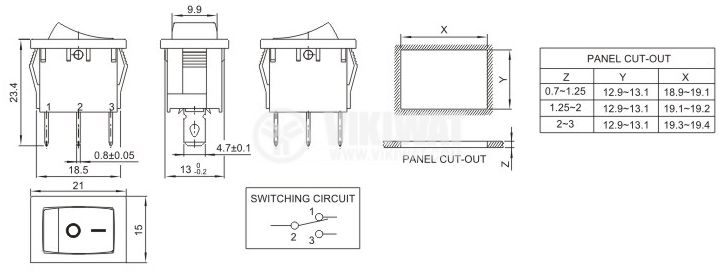 Rocker Switch, 10A/250VAC, ON-OFF, SPDT - 2