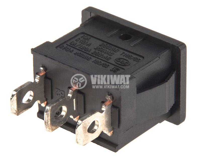 Rocker Switch, 2-position, ON-ON, 10A/250VAC, hole size 19x13mm - 3