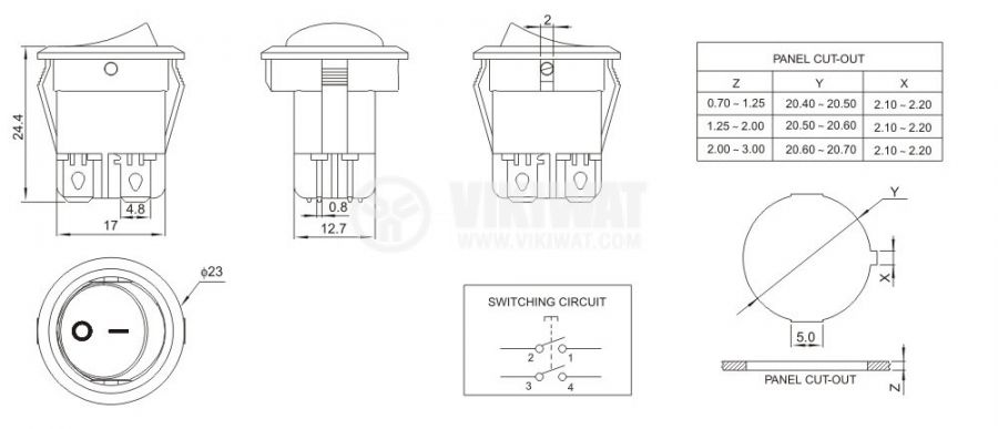 Rocker Switch, 10A/250VAC, ON-OFF, DPST, round - 3