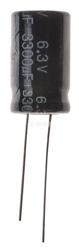 Кондензатор електролитен 3300uF, 6.3V, THT, ф12x20mm, Low ESR, нисък импеданс - 1