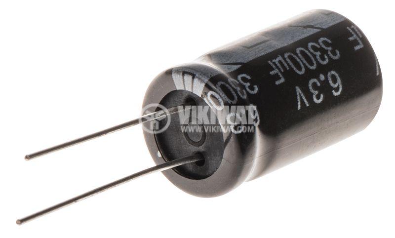 Кондензатор електролитен 3300uF, 6.3V, THT, ф12x20mm, Low ESR, нисък импеданс - 2