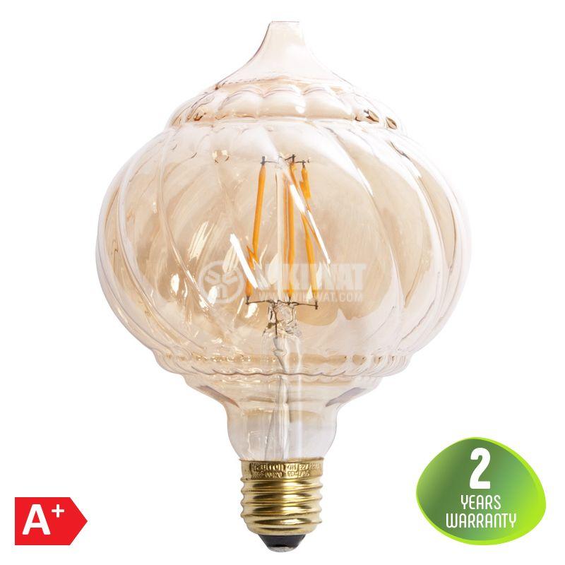 LED лампа FILAMENT LM125, 4W, Е27, 220VAC, 240lm, 2200K, топло бяла, amber, BB59-00420 - 1