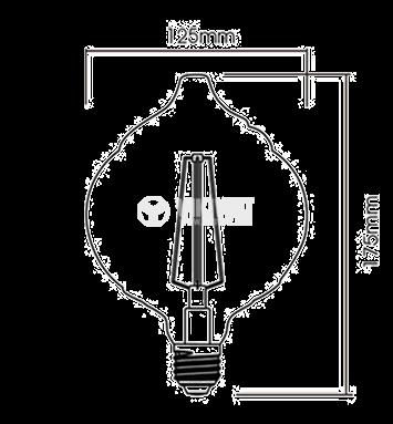 LED лампа FILAMENT LM125, 4W, Е27, 220VAC, 240lm, 2200K, топло бяла, amber, BB59-00420 - 2