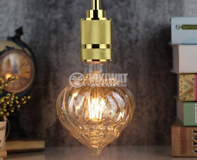 LED FILAMENT bulb LM125, 4W, E27, 220VAC, 350lm, 2200K, extra warm white, amber, twisted globe, BB59-00420 - 4