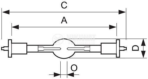 Special mercury lamp 100 V, 1200 W, SFc15.5-6 - 2