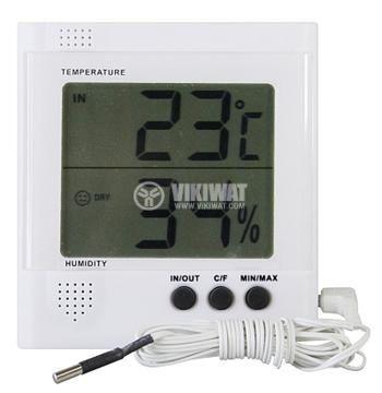 Термометър и влагомер RS8471 вътрешна и външна температура със сонда