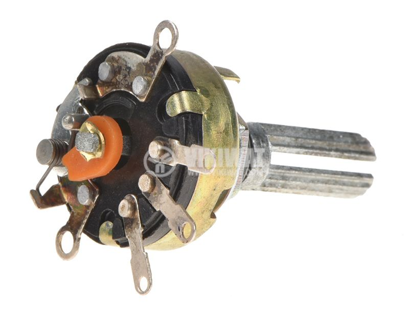 Потенциометър ротационен, с ключ, линеен, моно, 250kOhm - 2
