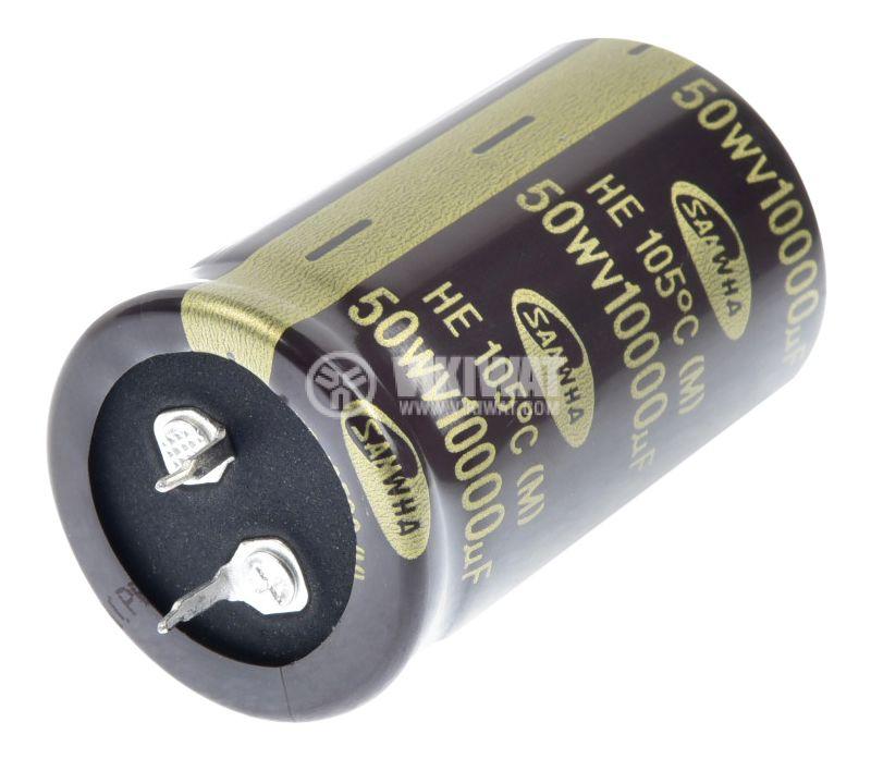 Кондензатор електролитен 10000uF, 50V, THT, ф30x50mm - 1