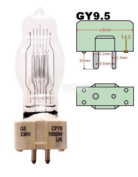 Halogen lamp for overhead projector GY 9.5, 1000 W, 230 V