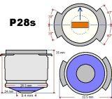 Специална лампа K 30-400, 30V, 400W, P28S, за кино прожектори - 2