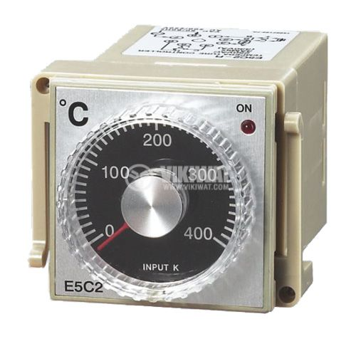 Термоконтролер, E5C2, 220 VAC, 0 °C до 400 °C, за термодвойка тип K, релеен изход - 1