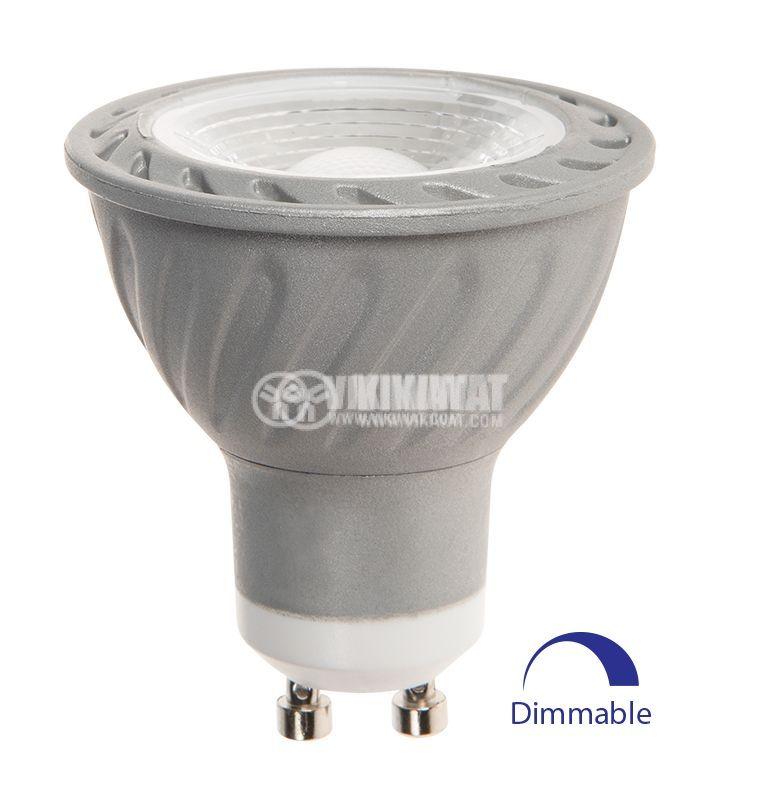 LED лампа 5W, GU10, MR16, 220VAC, 300lm, 3000K, топлобяла, BA26-0550, димируема - 1