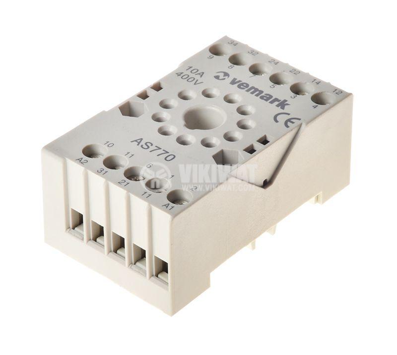 Relay socket, AS770, 10A, 400VAC, 11pin - 1