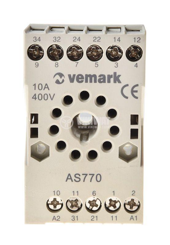 Relay socket, AS770, 10A, 400VAC, 11pin - 3